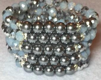 Bead Bracelet Stack/Blue Crystal/Silver Pearl
