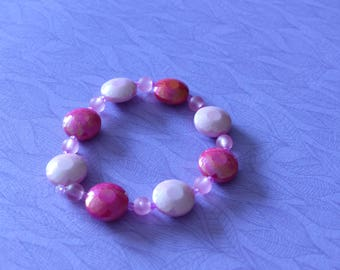 Flat pink beads elastic bracelet