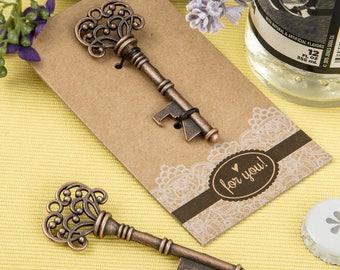 30 Copper skeleton key bottle opener with a heavy kraft paper backer card - Set of 30