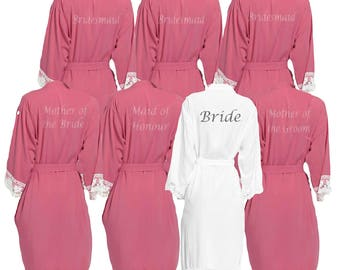 Personalised Dusky Pink Lace cuff Bridal Party Robes - Dressing Gowns -Wedding Robes- Bride - Bridesmaid -Glitter Print Bridal Dressing Gown