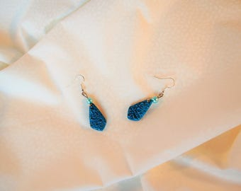 Earrings turquoise blue iridescent relief and glass bead, blue earrings, embossed, women gift, romantic jewelry