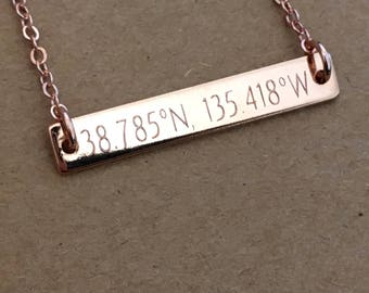 Custom Coordinate Necklace, Rose Gold Coordinate Bar Necklace, Latitude Longitude Necklace, Location Coordinate Necklace, Bridesmaid Gifts