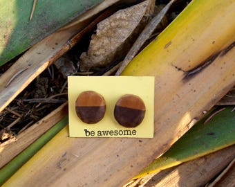 Natural Two-tone Wooden Earrings