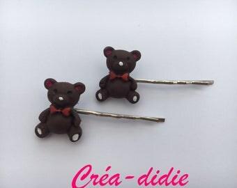 Teddy bear kids hair clips
