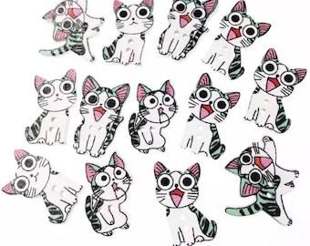 Cartoon cats 10 buttons