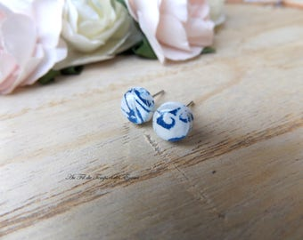 Stud Earring rond mini : Azulejos of Porto