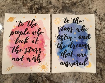 To The People Who Look at the Stars and Wish/To the Stars Who Listen and the Dreams that are Answered A Court of Thorns and Roses Miniprints