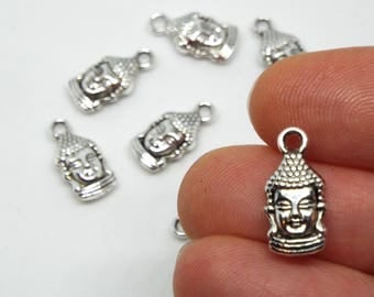Small Buddha double sided Charm 16mm x 7mm Silver Coloured  Siddhartha Gautama