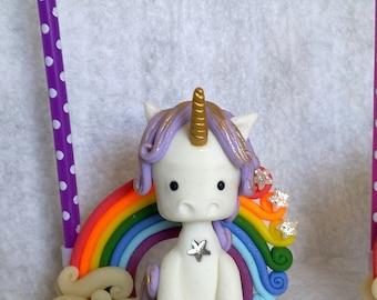 Candle holder purple and Rainbow Unicorn personalized