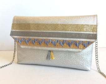 Evening clutch, handbag, faux silver leather, ribbons, detachable chain