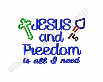 Christian embroidery design, Jesus and freedom embroidery design, 4th  july embroidery design