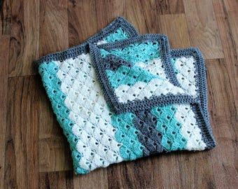 Teal and Grey Shell Stitch Crochet Baby Blanket