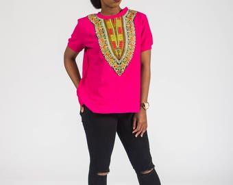 Women's African Dashiki Print T-shirt