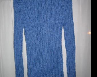 Round neck sweater wool denim sides