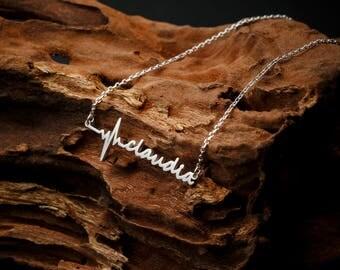 Custom Name Necklace •EKG Heartbeat Necklace •  Medical Student Gift • Personalized Name Necklace • White Coat Ceremony Gift