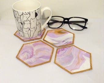 Marbled Clay Coasters Felted Back Set of 4
