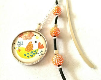 Jewel bookmark in silver, Orange beads, 3 cm bird cabochon