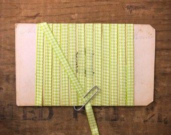 3/16 Inch Key Lime Green And White Gingham Checked Taffeta Ribbon (1yrd.) T41