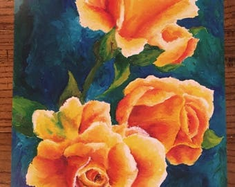 Bright Roses Against the Deep Sea of Blues and Greens
