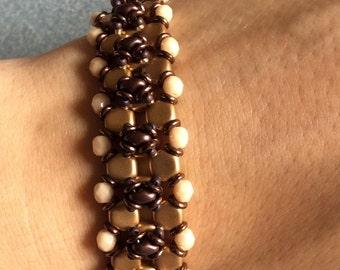 Stylish handmade brown-gold bracelet