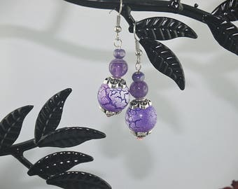 BUCKLES of ears AMETHYST and Pearl cracked silver mounting