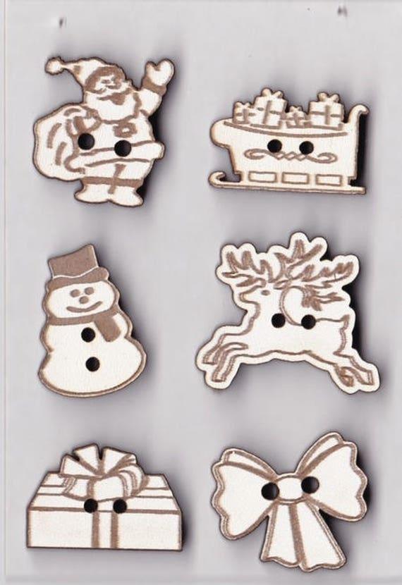 """pattern wooden buttons handmade plate """"Christmas 2"""""""