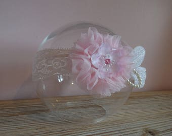Pink headband soft tulle flower