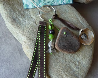 Door keys or jewelry bag in Brown and green shell and Driftwood