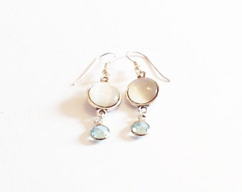 Earrings cabochon white mother of Pearl and aquamarine rhinestones.