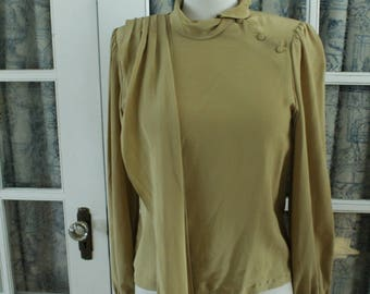 1980's Taupe Coloured Blouse