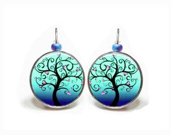 Turquoise tree heart earrings