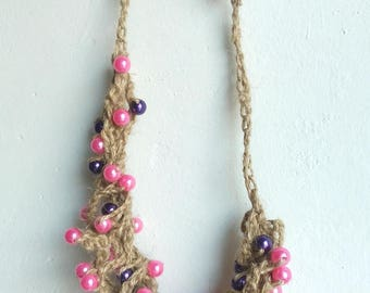raw jute and beaded necklace pink and purple/necklace