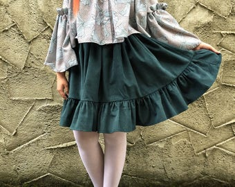 Handmade 'Vera' Skirt in Bottle Green Corduroy