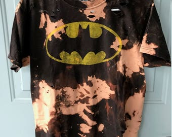 Bleached and Ripped Distressed Batman Shirt