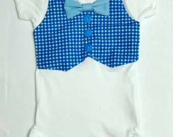 Blue Plaid Baby Onesie 3-9 Months