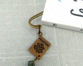 Mini brass bookmark passport, turquoise chips