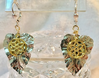 Gold flower on Silver plated leaf earrings