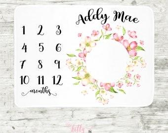 Pink Floral Wreath Baby Milestone Blanket, Baby Girl Milestone Blanket, Month Baby Blanket, Personalized Baby Blankie, Watch Me Grow Blanket