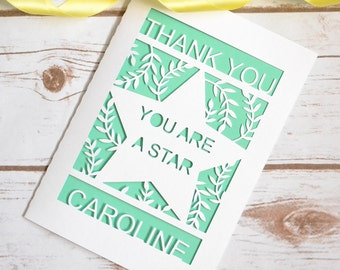 Personalised Thank You Papercut Card