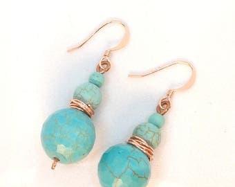 Copper turkise earrings, Kupferohrringe mit Türkissteinen,