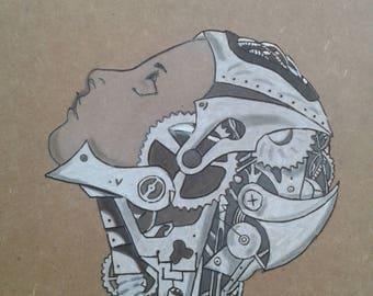 Pyrography steampunk woman