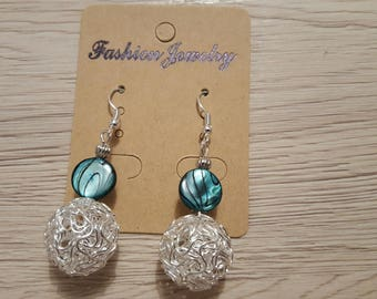 dangle earrings with peacock blue pearl beads and aluminum