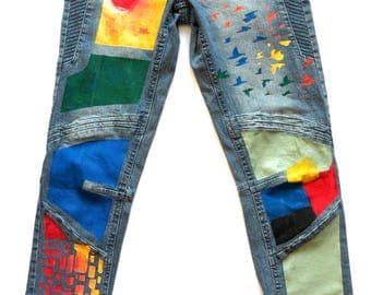 Blue motion women hand painted exclusive bleue and multicoloured skinny denim jeans with cotton and lycra stretch fabric