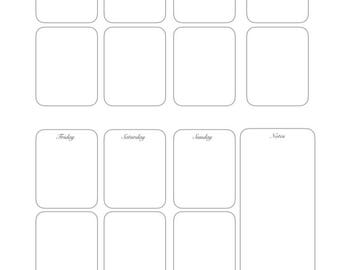 Printable planner inserts A4 week on one page
