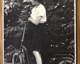 Antique Vintage Black and White Original Photo Pretty Young Girl with her very cool Scooter 1930s? Germany Child Fashon