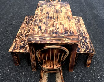 PINE TABLE // Burned Farm House Kitchen Table