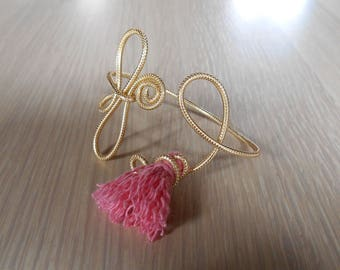 Gold and pink coloured aluminum bracelet