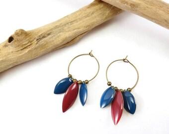 """""""Namaste"""" Rose Framboise & blue earrings"""
