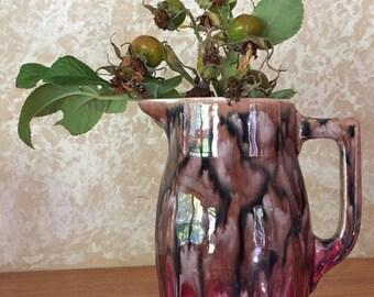 1930's Vintage Czech Coronet Milk, Cream or syrup pitcher with unique glaze