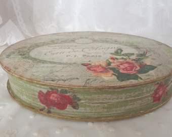 Oval jewelry box Jewelry storage Jewelry box Shabby chic jewelry box Distressed jewelry storage box Trinket box Shabby Green jewelry box